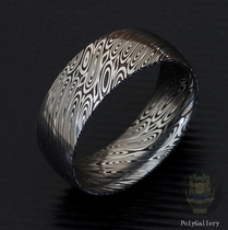 〓 Swedish powder jewelry grade rust Damascus steel ring-wave 〓pd-18