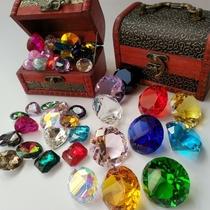 Childrens toy gemstone Crystal Princess Girl game acrylic plastic diamond pirate treasure Box