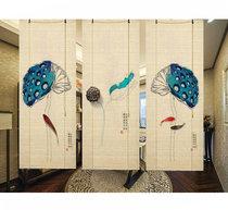 Печатные затемнения новых китайских ретро японских висит картина декоративные рулон занавес гостиной фон стены чайной комнате отрезал бамбуковый занавес