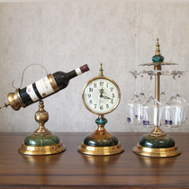 American creative alloy wine rack red wine glass hanging alloy seat clock European-style living room Xuanguan wine cabinet set pieces