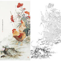 Chen Jungong stroke vertical flower bird white sketch bottom draft Linyi 66 x 129 crown crowned has steps 22CJ