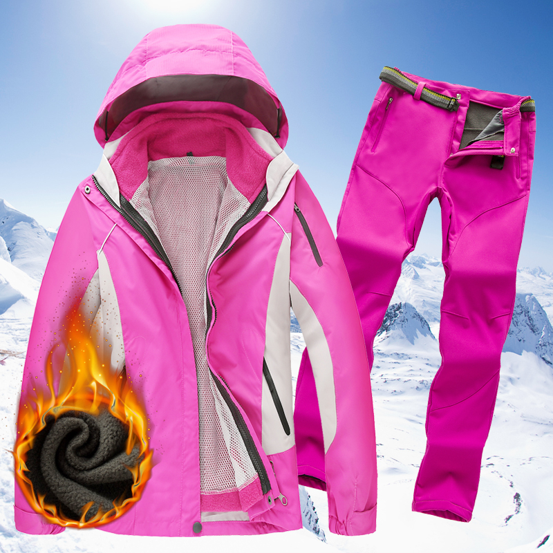 New outdoor stormwear men and women three-in-one two-piece suit pants suit waterproof breathable thickened three-season mountaineering suit