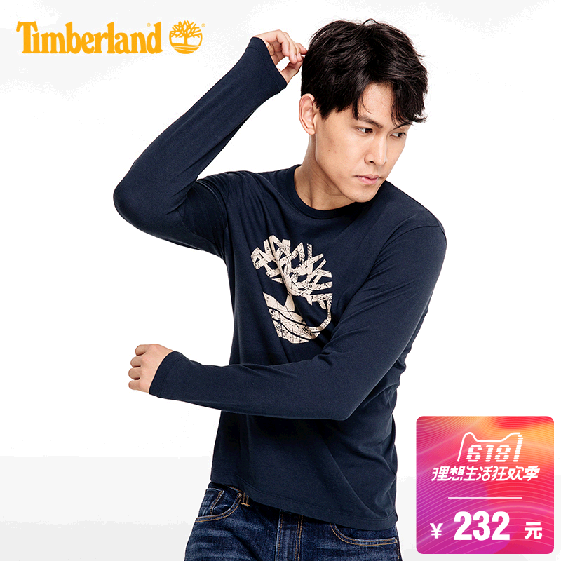 [Classic] Timberland / Timberland men's printed round neck long-sleeved T-shirt | A1L19