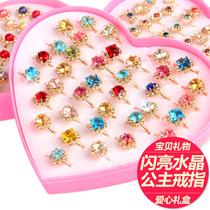 Дети кольцо принцесса дети Кристалл драгоценный камень кольцо девушки милый мультфильм ювелирные изделия подарочная коробка девушки принцесса кольцо