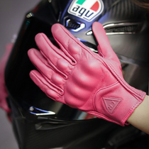 2021 new leather waterproof drop-proof solid color breathable motorcycle riding female knight touch screen gloves spring and summer