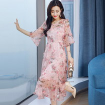 2018 Summer new chiffon two piece set dress female floral middle-and-large birthday party elegant fairy Dress