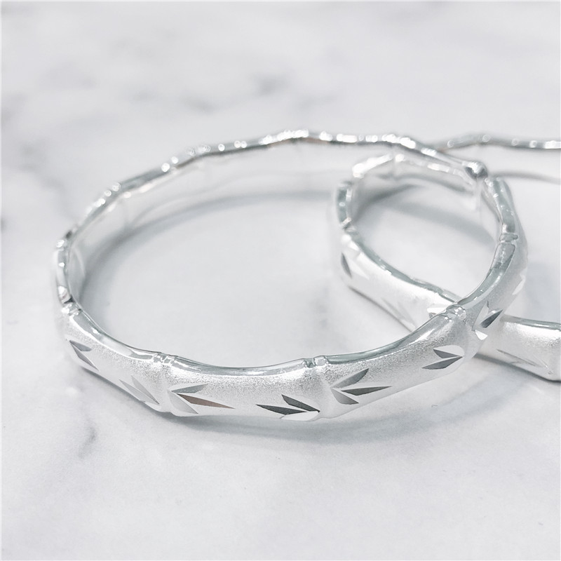 Live special shot foot silver 999 bamboo festival open bracelet solid can adjust the minimum internal diameter of 52mm about 30g