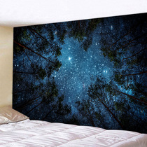 Oversized hanging cloth wall decoration tapestry bedside bedroom background cloth forest starry mural ins Nordic free punch