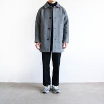 Wool Check Microgroove MAC COAT gray wool woolen Long Coat coat
