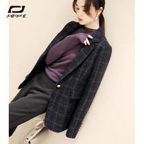 Wool black blazer womens autumn and winter New temperament British style casual check professional small suit top