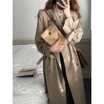 Khaki windbreaker womens spring and autumn 2021 New Korean version of long coat small man autumn coat early autumn