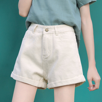 White denim shorts womens summer 2021 new high waist a word loose wide leg large size apricot thin hot pants