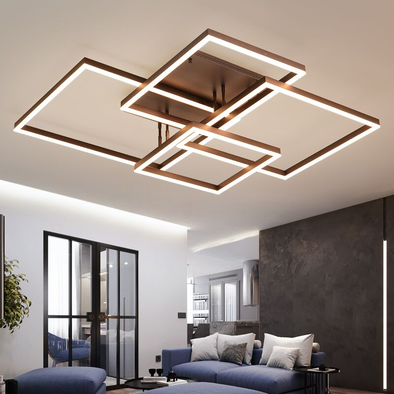 Living room lamp simple modern rectangular atmosphere household creative LED ceiling lamp 2019 new bedroom lamps