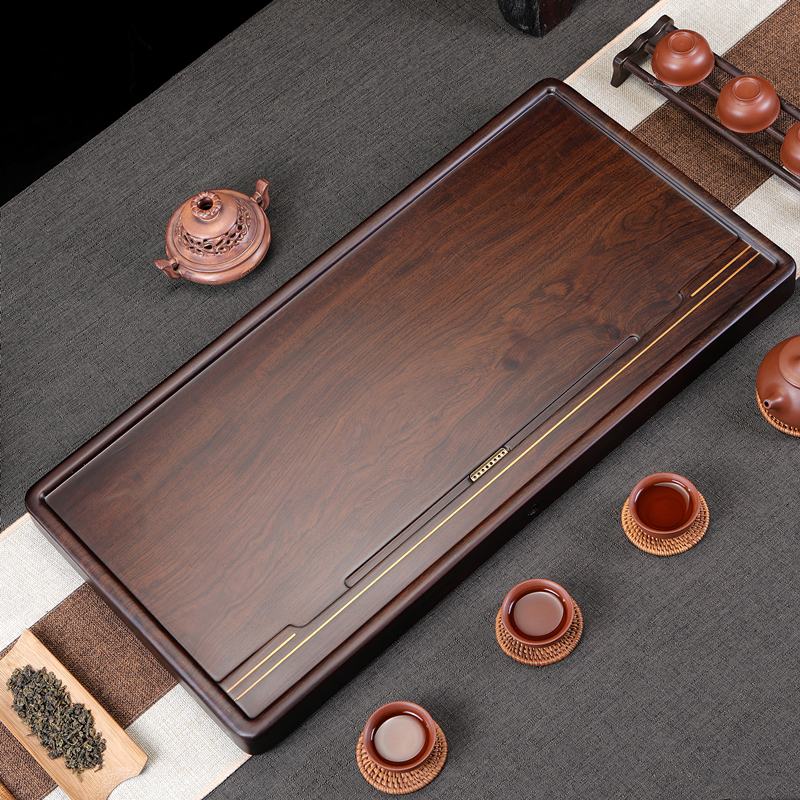 The whole ebony wood-encrusted copper solid wood tea tray home simple size size drainage living room tea sea solid wood tray