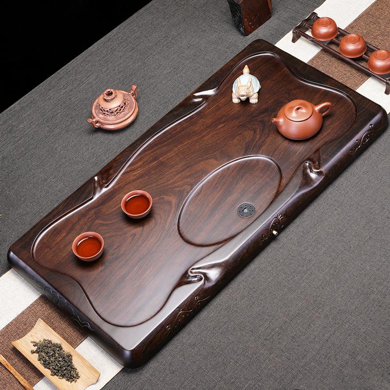 Ebony tea plate kung fu tea set home 託 square tea sea whole piece of solid wood size simple drainage