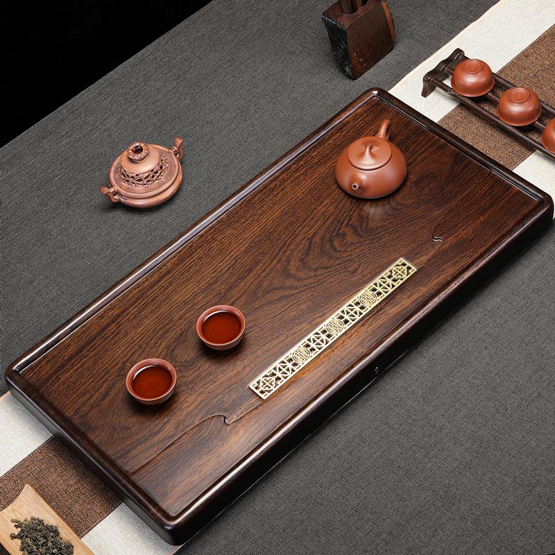 Original whole block of ebony natural solid wood tea plate simple home size tea table kung fu tea set drainage Chinese
