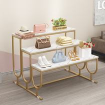 Shopping mall High school low three-story shelf shoe store bag marble water table Clothing store light luxury wrought iron display rack