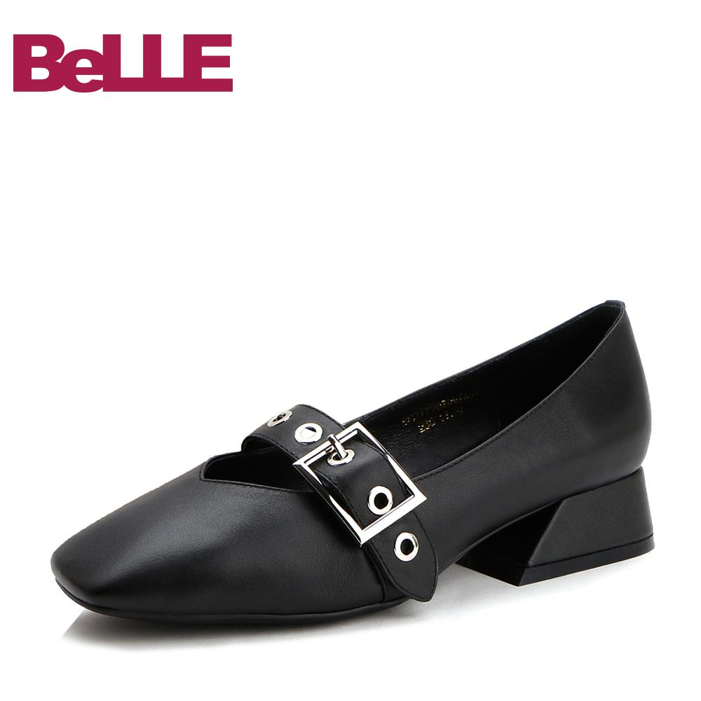 Belle / Belle single shoes spring fashion leather square head retro Mary Jane shoes women's shoes 17202AQ7