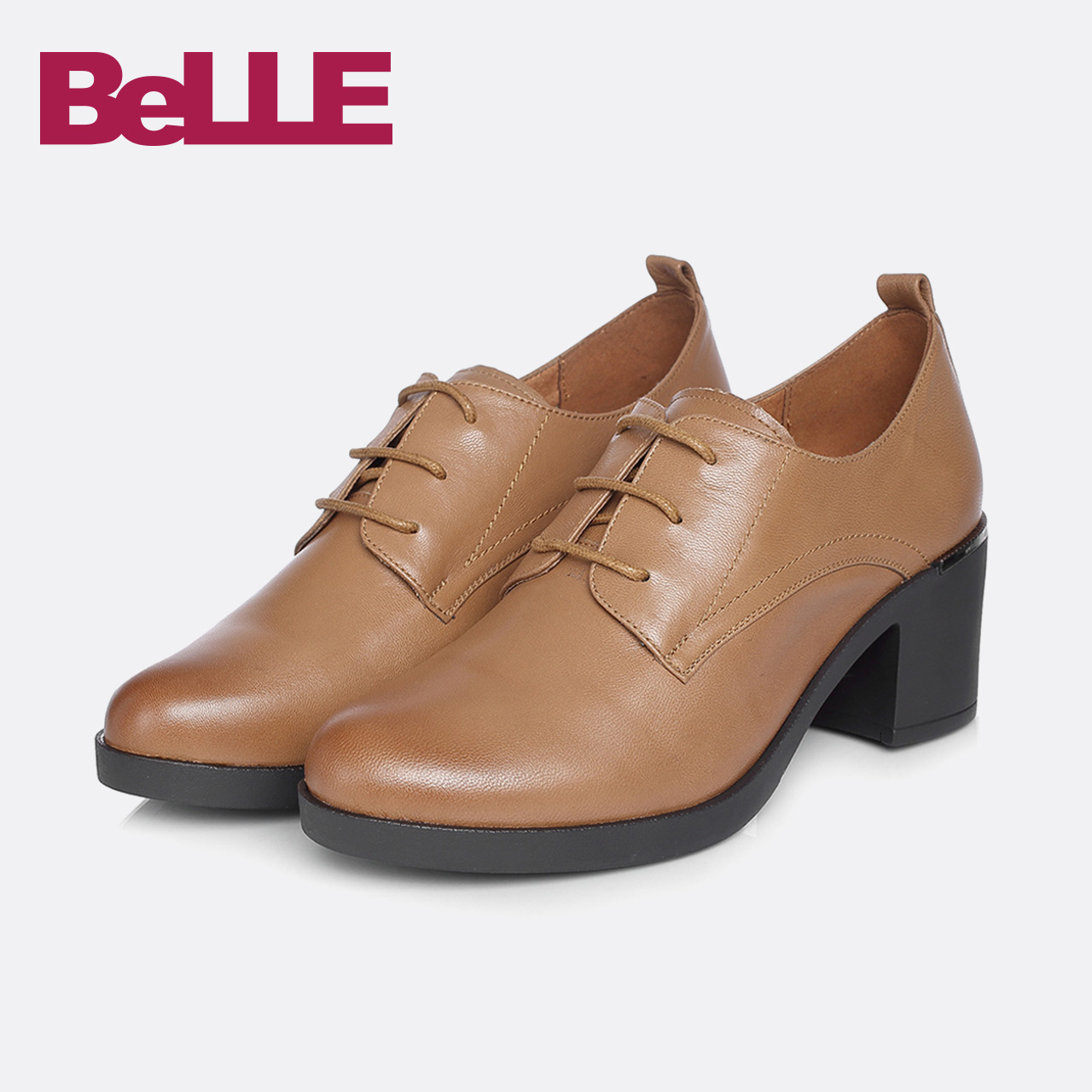 Belle / Belle single shoes 2018 spring new shopping mall with the same paragraph fashion British sheepskin women's shoes BAP20AM8