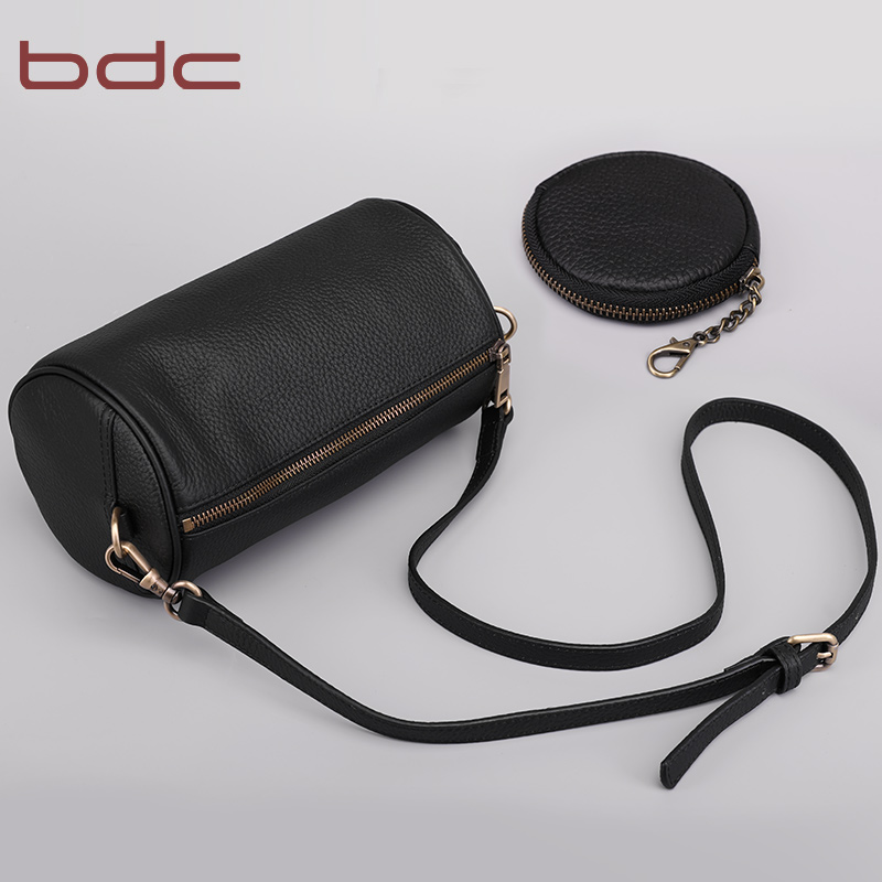 Bdc/blue dance 2018 new leather handbag casual shoulder slung bag head layer leather round pillow bag