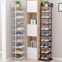 Simple shoe rack household iron multi-storey economy space dormitory small shoe cabinet door dust storage shelf