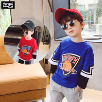 Left West boys long-sleeved T-shirt spring and autumn 2020 new childrens bottoming shirt cotton in the Big childrens day two tops tide