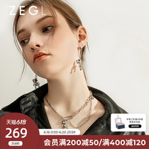 Zegl designer bear necklace for womens Instagram hip-hop pin collarbone chain 2021 new mens accessories gift
