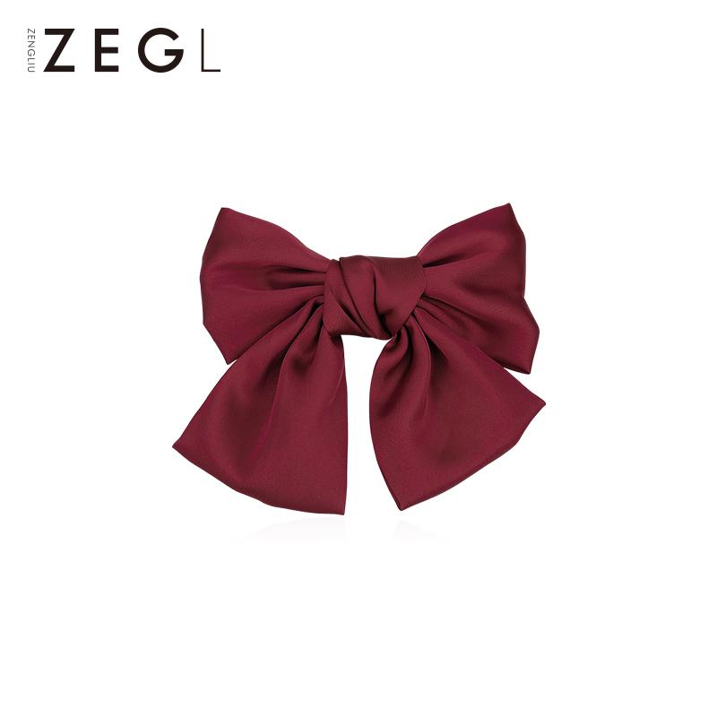 ZENGLIU新年红色大蝴蝶结髮夹女髮夹气质森系网红夹子头饰髮饰品