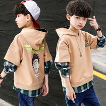 Boys spring and autumn Korean version of the sweater Korean version of the foreign climate 2020 new childrens clothing boy in the Big child leave two coat tide