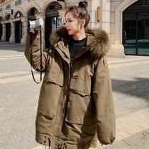 Rex rabbit hair Pike down cotton clothes women long 2021 Winter new Korean loose tooling cotton coat ins tide