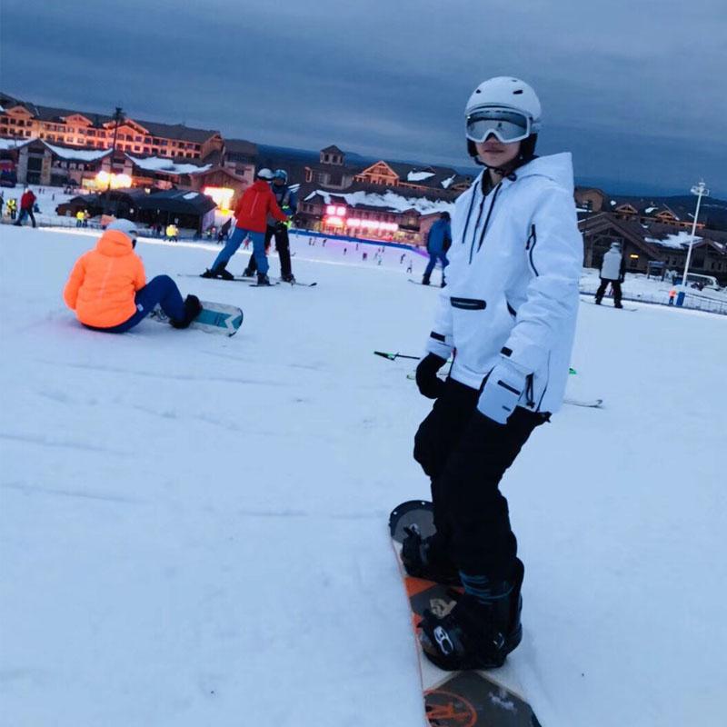 Skiwear womens set couple plus cotton hoodie single board double board windproof waterproof warm stylish ski equipment men