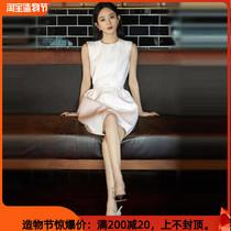 Zhao Liying star avec la même mode haut de gamme grand nom taille mince français premier amour robe blanche femmes été