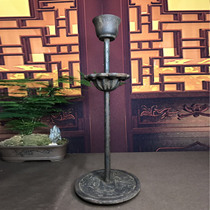 Old iron double plate oil lamp candlestick decoration Chinese iron cast iron Zen antique home Tea Room