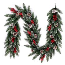 Luxury PE hybrid encrypted Christmas rattan snowscape decorative window handrail fireplace 200CM2.7m Christmas rattan