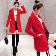 The little girl long wool coat. 2017 new autumn and winter red waist thick woolen coat