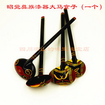 2 from Sichuan Liangshan Yi ethnic hand-painted lacquerware characteristic crafts Painted lacquerware Horse food spoon