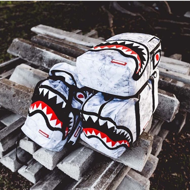 [The goods stop production and no stock]SPRAYGROUND Black and White Marble Furry Shark Mouth Student Travel Computer Outdoor Shoulder Backpack