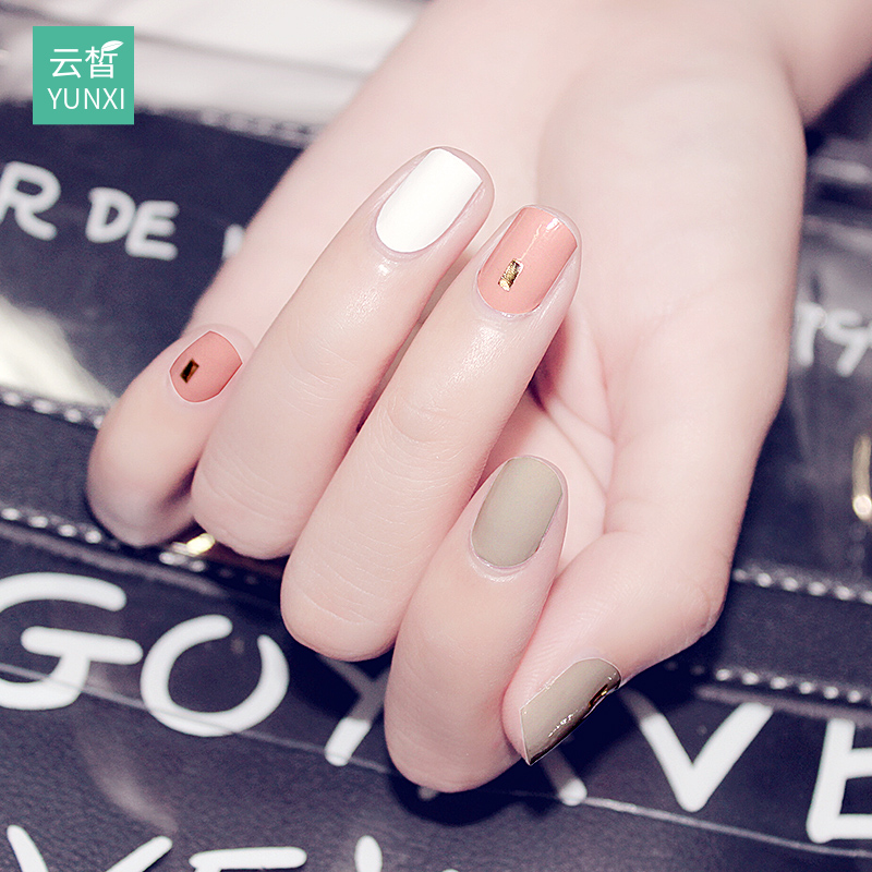 [The goods stop production and no stock]Nail Sticker Waterproof and Persistent Nail Sticker Fully Stick Korean 3D Nail Sticker Nail Finished Articles