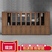 Office file cabinet Walnut wood bookcase Board background cabinet Lock storage data cabinet Drawer file cabinet