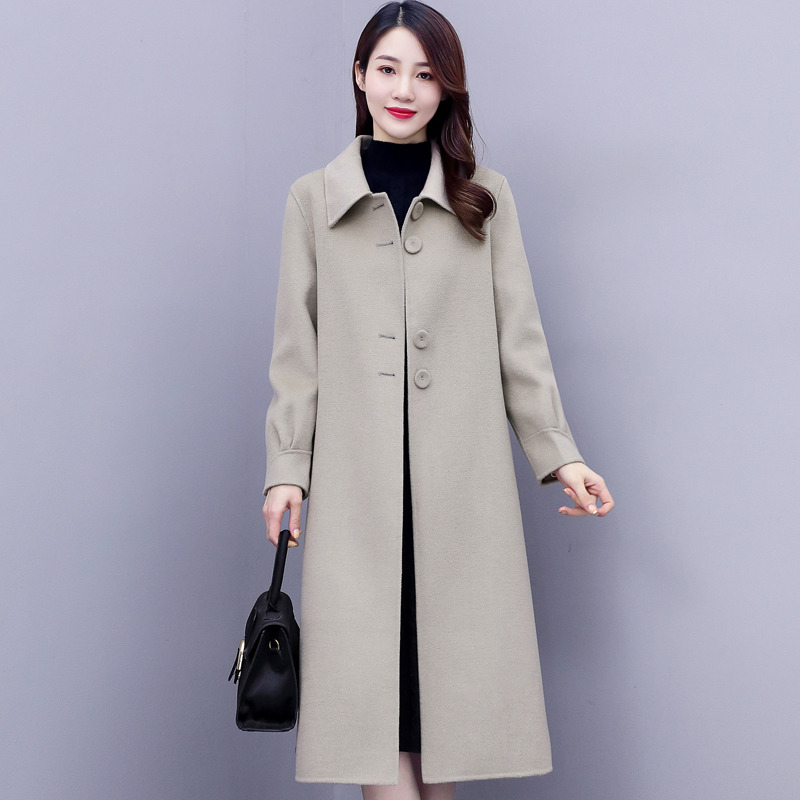 Double-sided coat female high-end temperament 2020 new winter version of the Korean version of loose medium and long version of solid color hair coat tide