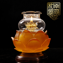 Buddha Hall Pure copper Amber glass lotus liquid oil lamp for Buddhas God of wealth lantern adjustable windproof pastry oil lamp