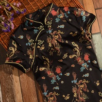 Black floral print modified summer Chinese wind slim slim gown