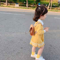 Girls knitted dresses 2020 new spring baby baby yangqi princess skirt School Wind skirt spring and autumn