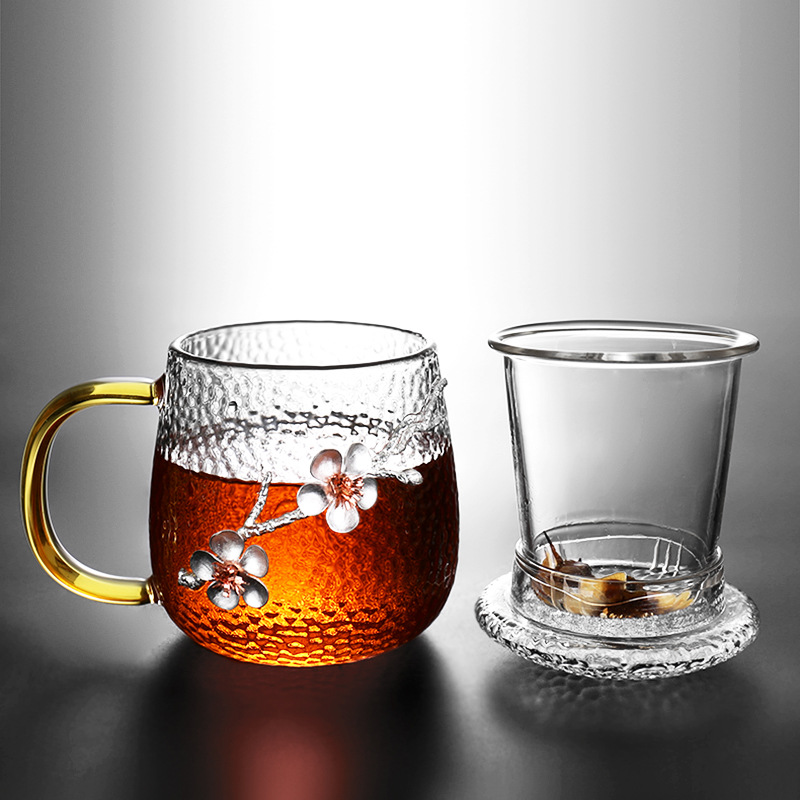 Ode to the hammer-print paste plum glass tea separate filter tea cup home office water cup with lid