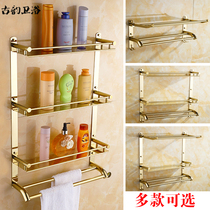 European-style gold bathroom rack folding towel rack gold-plated stainless steel toilet locker wall hanging towel rack