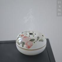 The first foam tao society Jingdezhen hand-painted ceramic incense oven incense box ring sandalwood tower incense box set piece tea table pieces
