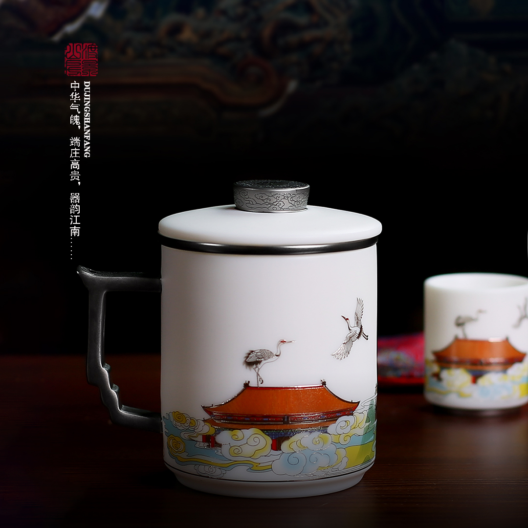 Wajingshan room sheep fat white jade porcelain teacase with a lid filter ceramic cup home mens high-end gift mark cup