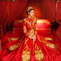 Show WO clothing bride 2018 new Chinese ancient costume wedding dress wedding dress Dragon gown embroidered kimono toast clothing slim fit
