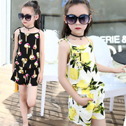 2017 new summer dresses girl casual cool shirt shorts shorts beach wear suspenders suit children