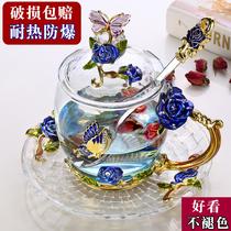 Красная эмаль эмали цветочная чашка чая с ручным стаканом для воды стеклянная чашка для домашнего рта творческая тенденция Европа